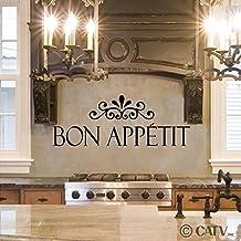 "Bon Appetit Vinyl Lettering Wall Decal (10""H x 27""L, Black)"