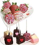 Belgian Chocolate Covered Strawberries & Cheesecake Pops - 12 pc Love & Romance Gift Box
