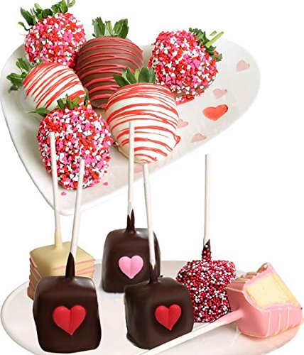 Belgian Chocolate Covered Strawberries & Cheesecake Pops - 12 pc Love & Romance Gift Box Chocolate Dipped Cheesecake