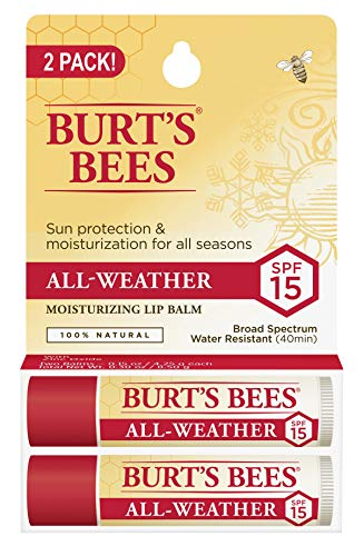 Burts Bees 100% Natural All-Weather SPF15 Moisturizing Lip Balm, Water Resistant - 2 Tubes