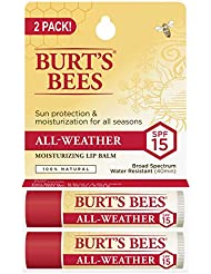 Burt's Bees 100% Natural All-Weather SPF15 Moisturizing Lip Balm, Water Resistant - 2 Tubes