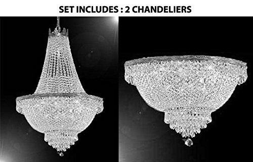 French Empire Crystal Chandelier Lighting H30 X W24 and Semi Flush Chandelier Lighting H18 X W24