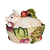 French Market Collection, Covered Vegetable Bowl, White/Green/Pink