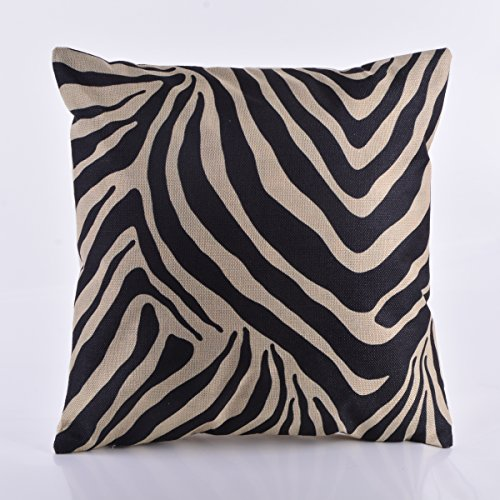 DECORLUTION Black Zebra Stripe Printed Pattern Cushion Cover for Home Couch Sofa Decorative 18-Inch-by-18-Inch Cotton Linen Throw Pillowcase Decorative Pillow Case Covers Standard Size