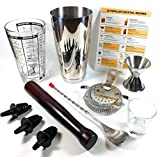 SUMMIT Cocktail Shaker 10 Piece Home Bar Set | Premium Quality Barware - 28oz Weighted Shaker, Mixing Glass, Strainer, Muddler, Jigger & More | Mix Drinks Like a Pro | BONUS 25 Cocktail Recipes Card