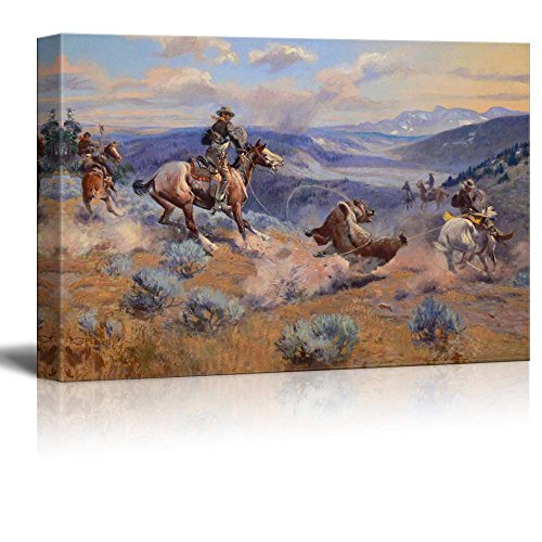 Wall26 - Loops and Swift Horses Are Surer than Lead by Charles Marion Russell - Canvas Print Wall Art Famous Painting Reproduction - 16