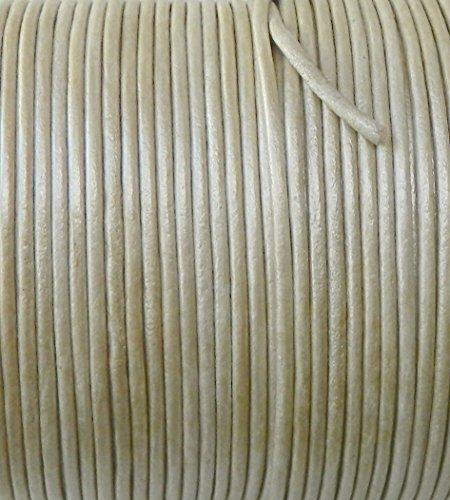 Rockin Beads Imported India Leather Cord 2mm Round 5 Yards Metallic Cream