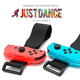 TENGDAUS Just Dance Adjustable Wristbands Set Compatible for Nintendo Switch Joy-Con Controllers Gamepad with Adjustable Hook&Loop Strap (2 Pack)