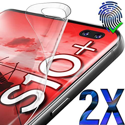 """UTECTION 2X Schutzfolie für Samsung Galaxy S10 Plus (6.4"""") - Fingerabdruck kompatibel - Premium Folie KEIN Glas - Hüllenfreundlich - Anti Kratzer Displayschutzfolie HD Ultra Clear - Displayfolie"""