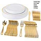 "125 Disposable Plastic Plates for Parties Set | 25 10"" Dinner Plates, 25 7"" Salad/Dessert Plate, 25 Forks, 25 Knives, 25 Spoons 