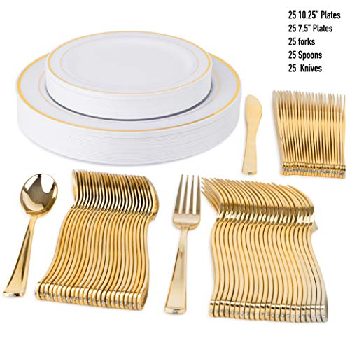 """125 Disposable Plastic Plates for Parties Set   25 10"""" Dinner Plates, 25 7"""" Salad/Dessert Plate, 25 Forks, 25 Knives, 25 Spoons   Excellent for Weddings, Bridal Showers, Birthday & More   Gold (Heavy Extra Knife Dinner)"""