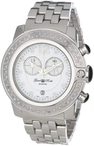 Glam Rock Women's GR32173D So-Be Mood Chronograph White Dial Diamond Accented Stainless Steel Watch