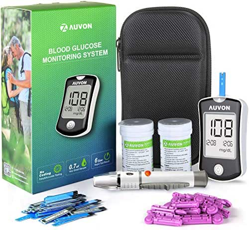 AUVON DS-W Blood Sugar Test Kit (No Coding Required), High-Tech GDH Diabetes Testing Kit Glucose Meter with 100 Test Strips, 25 30G Lancets, Lancing Device and Hard Case (See Picture Before FIRST USE)