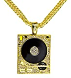 Xusamss Hip Hop DJ Stainless Steel Crystal Phonograph Tag Pendant Necklace With Chain