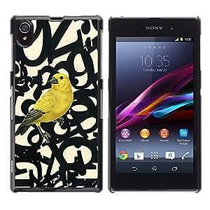 Paccase / SLIM PC / Aliminium Casa Carcasa Funda Case Cover para - Bird Letters Numbers Text Beige - Sony Xperia Z1 L39 C6902 C6903 C6906 C6916 C6943