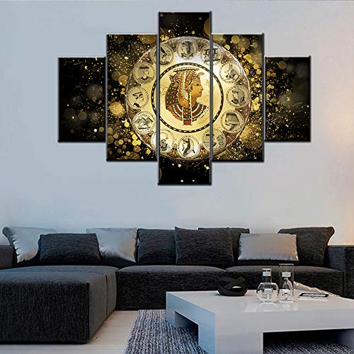 Wall Pictures for Living Room Egyptian Goddess Paintings Portrait of Cleopatra Wall Art 5 Panel Printed on Canvas Golden Artwork House Modern Decor Framed Gallery-Wrapped Ready to Hang(60''Wx40''H)