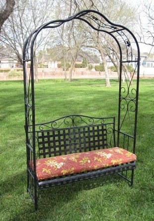 Metal Bench, Garden   7 Ft., Arch Arbor, Black