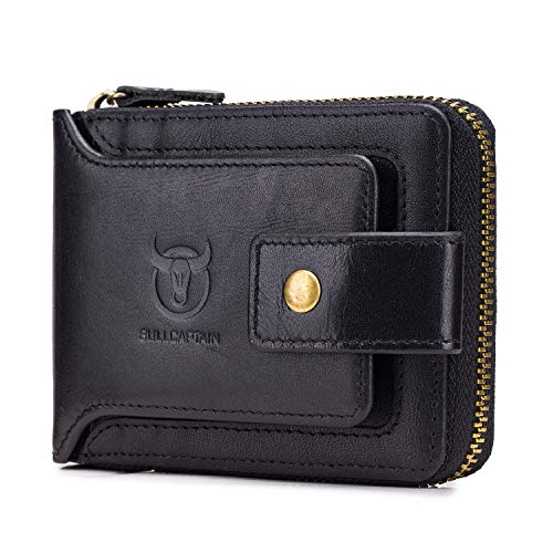 BAIGIO RFID Men Leather Zipper Wallet Zip Around Wallet Bifold Multi Card Holder Purse (Black)