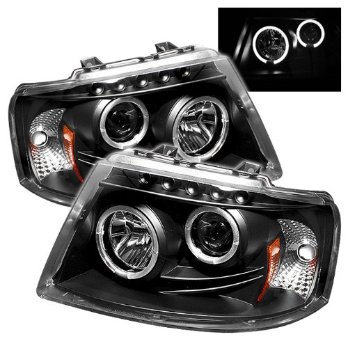 Spyder Auto PRO-YD-FE03-HL-BK Ford Expedition Black Halo LED Projector Headlight with Replaceable LEDs