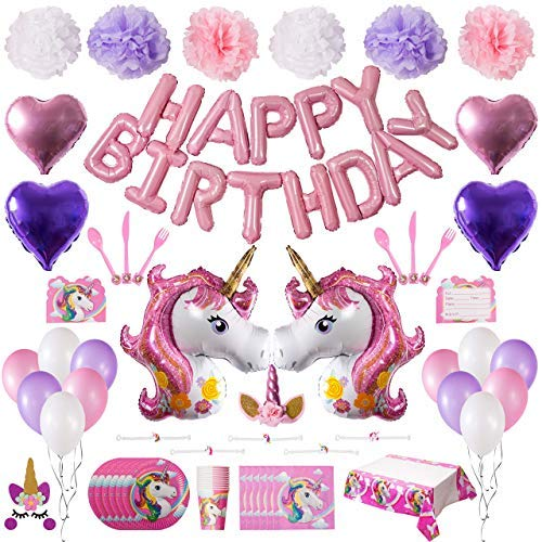 Unicorn Party Supplies New 2018! Unicorn & Happy Bday Balloons, Heart Balloons, Latex Balloons, Pom Poms, Headband, Cake Topper, Bracelets, Invitations, Tableware, Tablecloth. Serves 10.