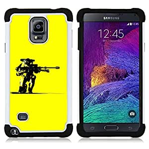 BullDog Case - FOR/Samsung Galaxy Note 4 SM-N910 N910 / - / Yellow M Chief Hlo Superhero /- H??brido Heavy Duty caja del tel??fono protector din??mico - silicona suave