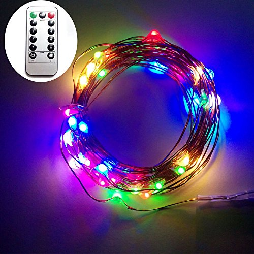 Dreamworth 2 Set 10M 100 LEDS Battery Operated Remote Contol LED String Lights Flexible Copper Wire Light LED Starry Lights Fairy Lights For Christmas Holiday Party Wedding(Multicolor)