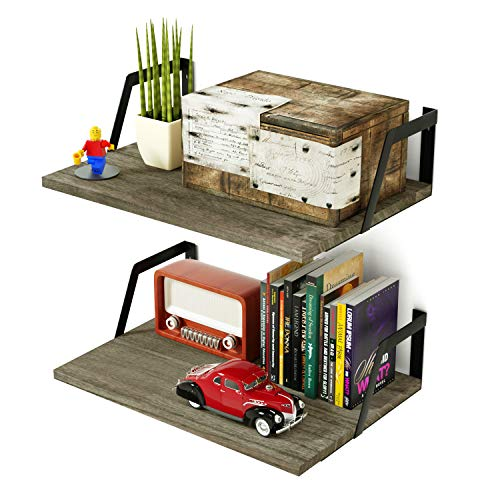 (SRIWATANA Floating Shelves Wall Mounted Set of 2 Rustic Wood Shelves with Large Capacity(Weathered Grey))