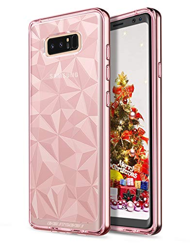 BENTOBEN Phone Case Compatible with Samsung Galaxy Note 8, Slim Clear 3D Diamond Geometric Pattern Design Hybrid Soft TPU Hard Chrome Frame Bumper Shockproof Protective Case for Girls Women, Rose Gold Diamond Chrome Hard Case