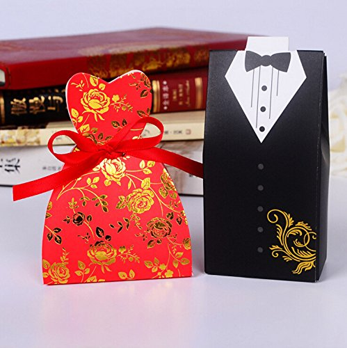Fascola 100 Pcs 50 Paris Dress & Tuxedo Bride Groom Ribbon Candy Bomboniere Boxes candy box wedding party favor box gift box NEW Style (Red)