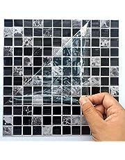 Ingeniously Autocollants en mosaïque, 10pcs / Set 3D Auto-adhésif imperméable à l'eau Noir marbre Autocollant de mosaïque en mosaïque Sticker Mural décoration pour la Salle de Bain Kitcheh