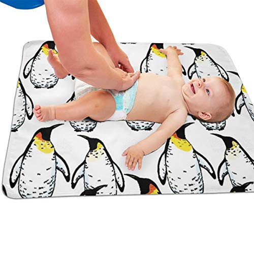 V5DGFJH.B Baby Portable Diaper Changing Pad Penguin Pattern Urinary Pad Baby Changing Mat 31.5