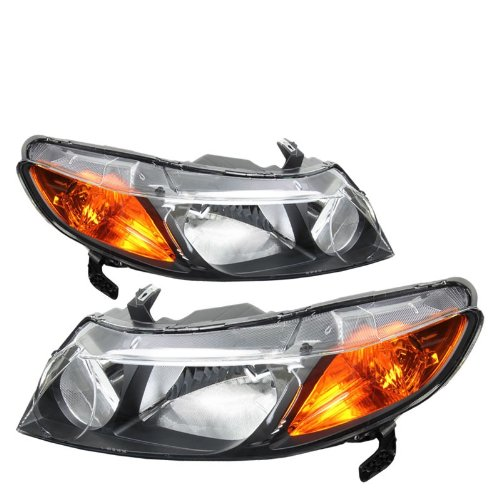 Black Headlight Lamp Light Amber Reflector For Honda 06-08 Civic 4DR FA/FD/FG
