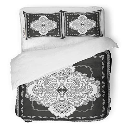 - Semtomn Decor Duvet Cover Set Twin Size Paisley Pattern in The Shape of Monochrome Bandanna Shawl 3 Piece Brushed Microfiber Fabric Print Bedding Set Cover