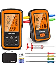 Wireless Digital Meat Thermometer Set, 500ft Remote Range Instant Read Cooking Thermometer with 4 Probes & Meat Injector, Timer & Alarm Funtion for Kitchen, Oven, Smoker, Grilling BBQ