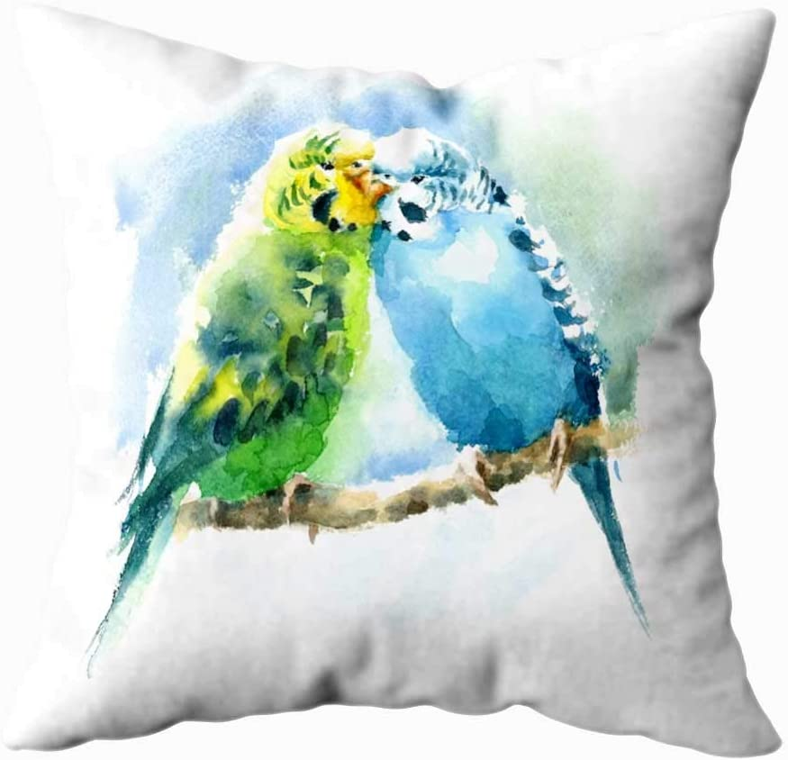 N\A Soft Pillow Case Household Cushion Soft Home Sofa Decorative Soft Pillow Case Watercolor Pet Birds Green Blue Drawn Summer Tropical Budgies Double Printed Outdoor Pillow Covers