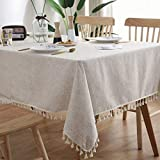 Bringsine Stitching Tassel Tablecloth Heavy Weight Cotton Linen Fabric Dust-Proof Table Cover for Kitchen Dinning Tabletop Decoration (Rectangle/Oblong, 55 x 70 Inch)