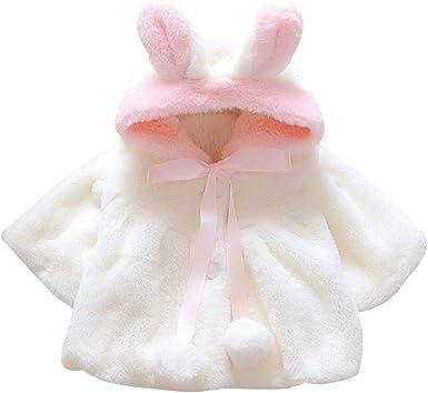 EDOTON Abrigos Bebé, Niña Infant Ropa Otoño Invierno Chaqueta con Oreja de Conejo Capucha Grueso Capa para Bebés Niña 0-36 Mes: Amazon.es: Ropa y accesorios