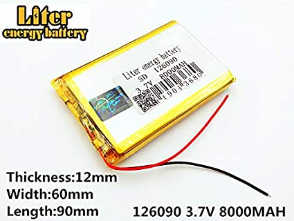 AKZYTUE 3.7V 2800mAh 123464 Lipo Battery Rechargeable Lithium Polymer ion Battery Pack with JST Connector