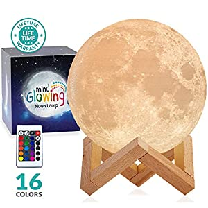 Mind-glowing 3D Moon Lamp – 16 LED Colors, Dimmable, Rechargeable Night Light (Large, 5.9in) with Wooden Stand, Remote & Touch Control – Nursery Decor for your Baby, Birthday Gift Idea for Women