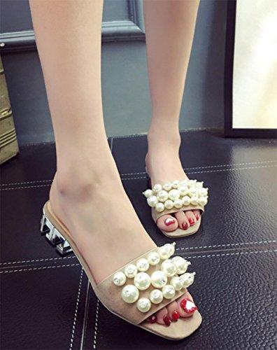 Cuadrado con sandalias y zapatillas de punta abierta verano de la perla de la moda con las sandalias de la palabra arrastrar las mujeres meters white