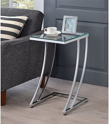 BOWERY HILL Contemporary Glass Top Accent End Table
