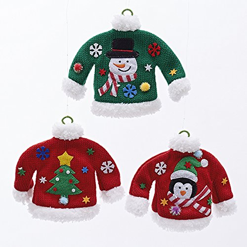 Kurt Adler 1 Set 3 Assorted Christmas Knitted Sweaters on Wire Hangers Ornaments