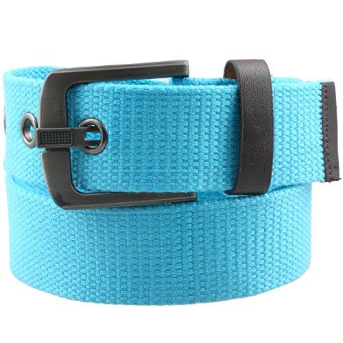 Samtree Canvas Web Belts for Men Women,Braided Solid Color Hole Belt(Lake Blue)