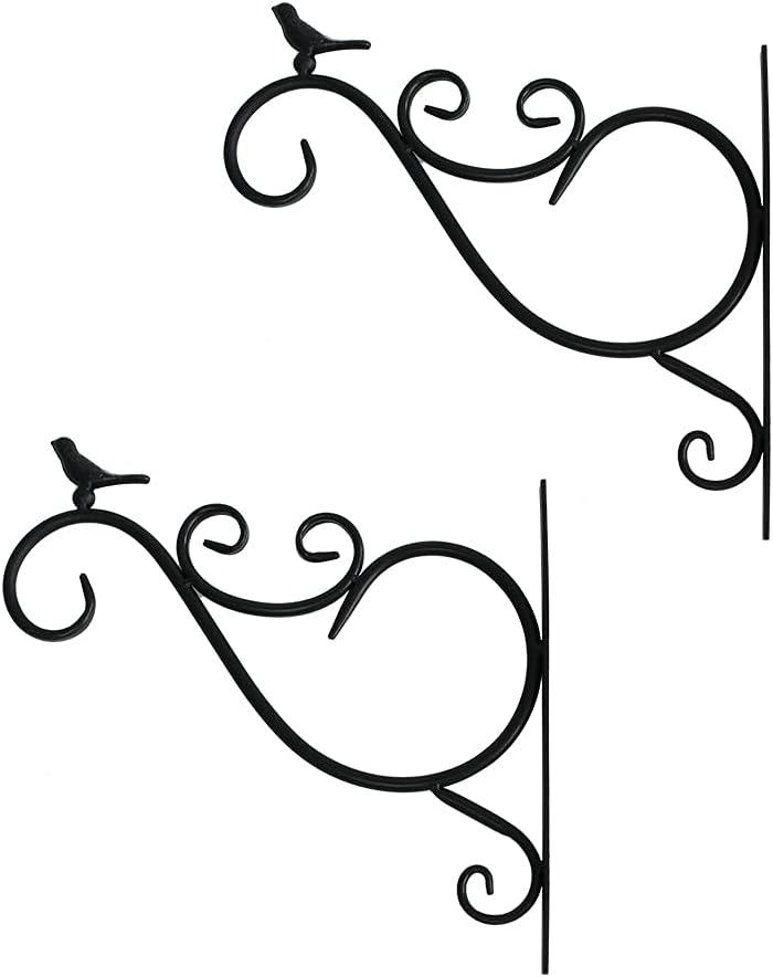 2 Pack Hanging Plants Bracket Wall Planter Hooks Hangers Flower Pot Bird Feeder Wind Chimes Lanterns Patio Lawn Garden for Outdoor Indoor Wall Fence Screw Mount Against Door Arm Black