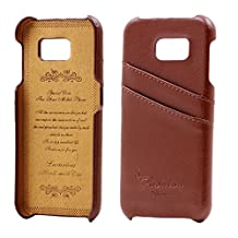 Galaxy S6 Case, AIYZE Mobile Phone Cover Protector Samsung Galaxy S6 Case Premium Genuine Leather Back Case with Credit Card ID Holder Brown