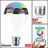 MSC New Wireless Bluetooth 4.0 Speaker B22 ( E27-Available) Smart LED Light Bulb Play Audio Music RGB Lamp- Smartphone Free APP Controlled- Dimmable Multicolored Colorful LED Display-One Pocket Monsters for your Exclusive Party--12 Months Warranty(B22 *1)