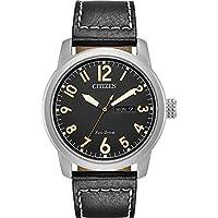 Citizen Men's 'Eco-Drive' Quartz Stainless Steel and Leather Casual Watch, Color:Black (Model: BM8471-01E)