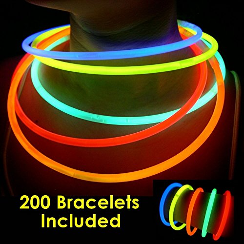 "200 Hr Glow Stick - 200 Glow Sticks Bulk Wholesale Necklaces, 22"" Glow Stick Necklaces+200 FREE Glow Bracelets! Bright Colors Glow 8-12 Hr, Connector Pre-attached(handy), Glow-in-the-dark Party Supplies, GlowWithUs Brand"