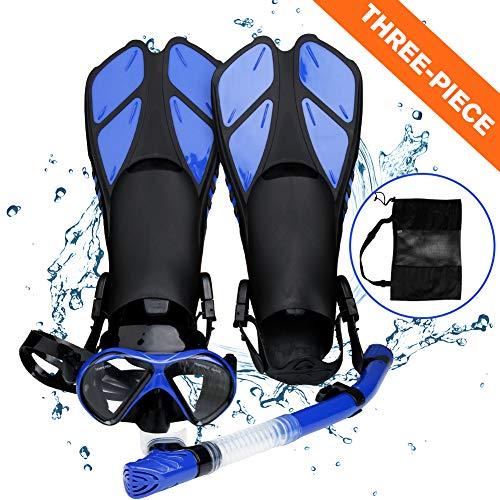 Aritan Snorkeling Set, Anti-Fog Coated Glass Diving Panoramic View Mask, Dry Top Soft Mouthpiece Snorkel Tube, Short Trek Fins and Snorkeling Gear Bag, Easy Adjustable Strap (Blue, Three-Piece)
