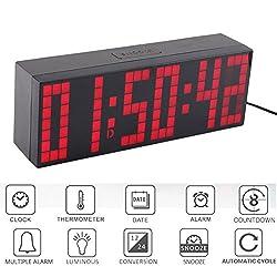 Digital Led Display Wall Clock,9.45×3.28inch Remote Control Jumbo Large Big Digits Clock LED Display Desk Clock with Alarm Calendar Temperature (Red Number)